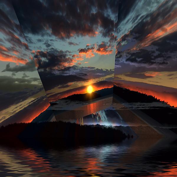 """Sunset Rays Sky"" (photography) by Elaine Hunter"
