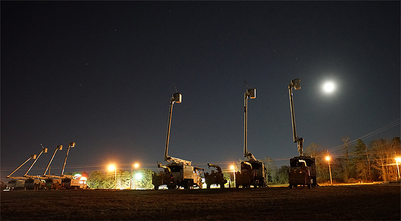 """Bucket Trucks On The Night Of A Blue Moon"" (photography) by Howard Frye"