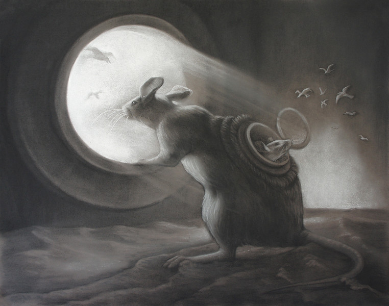 """""""A Look Through the Porthole"""" (charcoal on paper) by Iuliana Irimia"""