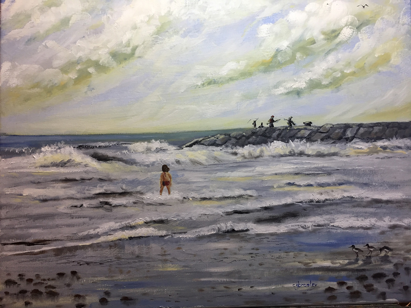 """Fishing Off the Jetties"" (oil on canvas) by Crista Bromley"