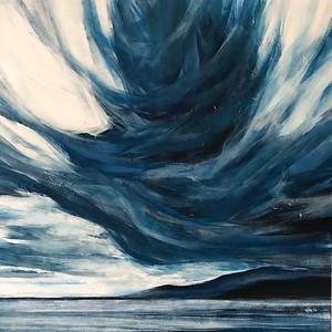 """Blue horizon"" (acrylic on canvas) by Naima Karim"