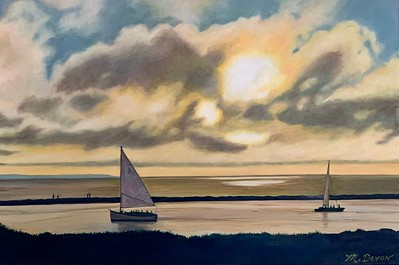 """""""Sun is Setting on Gin Beach"""" (oil on canvas) by Mitra Devon"""