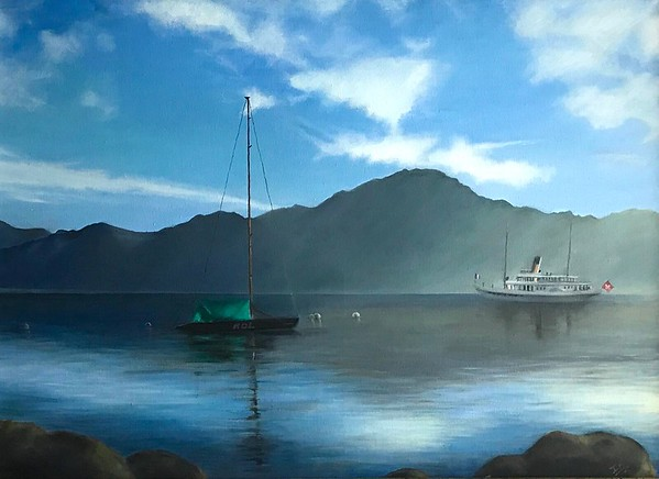 """Lake Leman"" (oil on canvas) by Inna Zubareva"