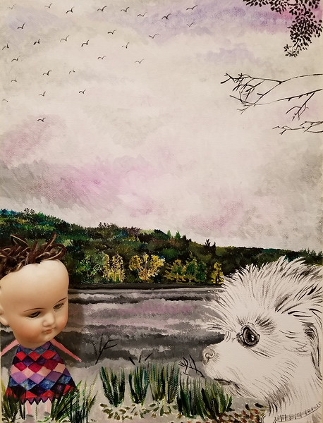 """Before The Rain"" (acrylic and assemblages on Canvas) by Jennifer Carberry-Landis"