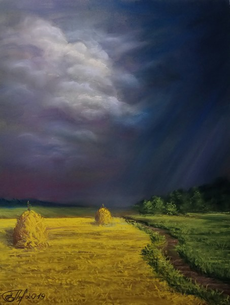 """Before the thunderstorm"" (pastel) by Elena Gorbacheva"