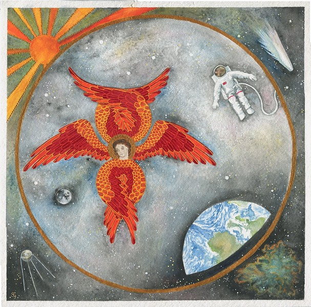 """The Astronaut and the Seraph"" (watercolor) by Sara Gothard"