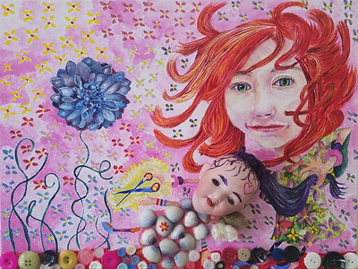 """""""Hair Cut"""" (acrylic and assemblages on Canvas) by Jennifer Carberry-Landis"""