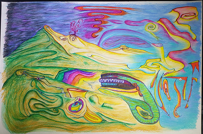 """""""Where the Earth and the Sky intertwine"""" (colored pencil) by Nick Morgan"""
