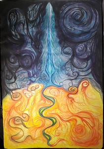 """Exploring the Skies Burning up the Past""  (watercolor) by Nick Morgan"