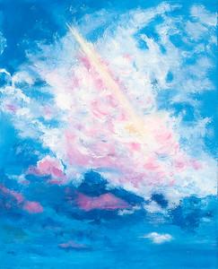 """N.M. sky"" (oil on canvas) by Nancy Hall"