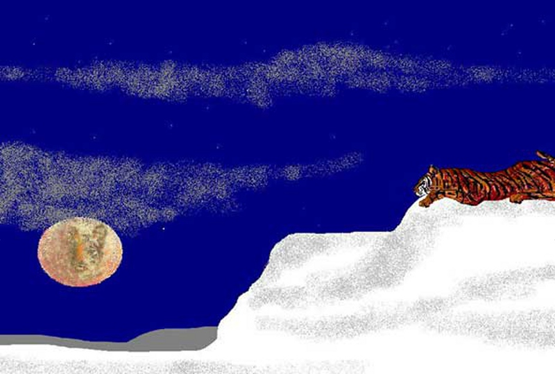 """Tiger Moon"" (digital painting) by Carole Boyd"