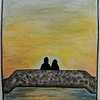 """Romantic Sunset"" (watercolor, ink) by Natalie Truxall"