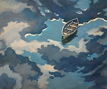 """Sky river"" (gouache and acrylic) by Svetlana Kozmina"