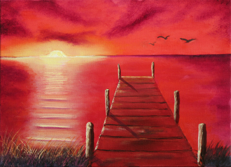 """""""Dock at Sunset"""" (oil on canvas) by Eldon Case"""