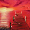 """Dock at Sunset"" (oil on canvas) by Eldon Case"