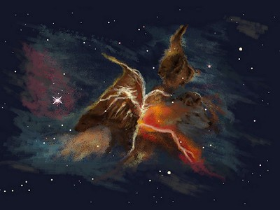 """""""Space Dogs"""" (digital painting) by Carole Boyd"""