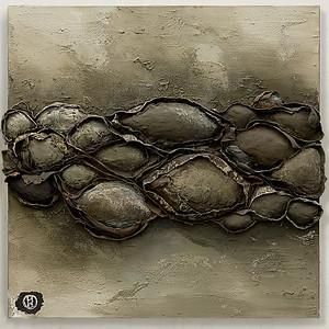 """0123"" (acrylic, polymers on canvas) by Natalia Popova"