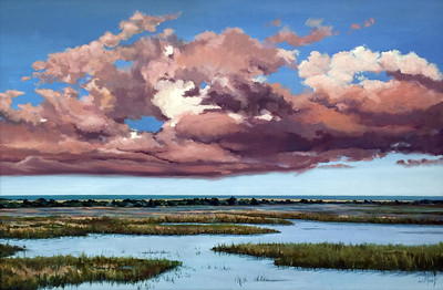 """""""Evening Clouds Over The Marsh"""" (oil on linen) by Susan La Mont"""