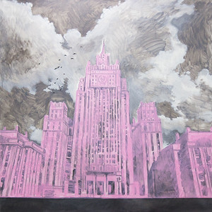 """""""PINKCITY. Ministry of foreign Affairs of the Russian Federation"""" (acrylic on canvas) by Alyona Fedotkina"""