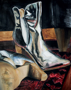 """Disco Boots"" (watercolor) by Emma Pruett"