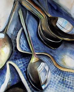 """Reflective Spoons"" (watercolor) by Emma Pruett"