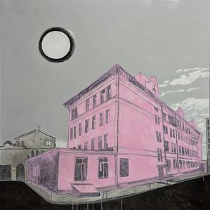 """""""PINKCITY. The maternity hospital where I was born"""" (acrylic on canvas) by Alyona Fedotkina"""