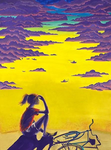 """Sky fishermen"" (gouache on watercolor paper) by Kate Shilo"