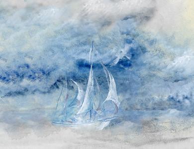 """""""Storm Sail"""" (mixed media) by Lisa McLaughlin"""
