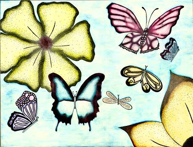"""""""Butterflies in the Sky"""" (pen and ink, watercolor) by Cynthia Galyean"""