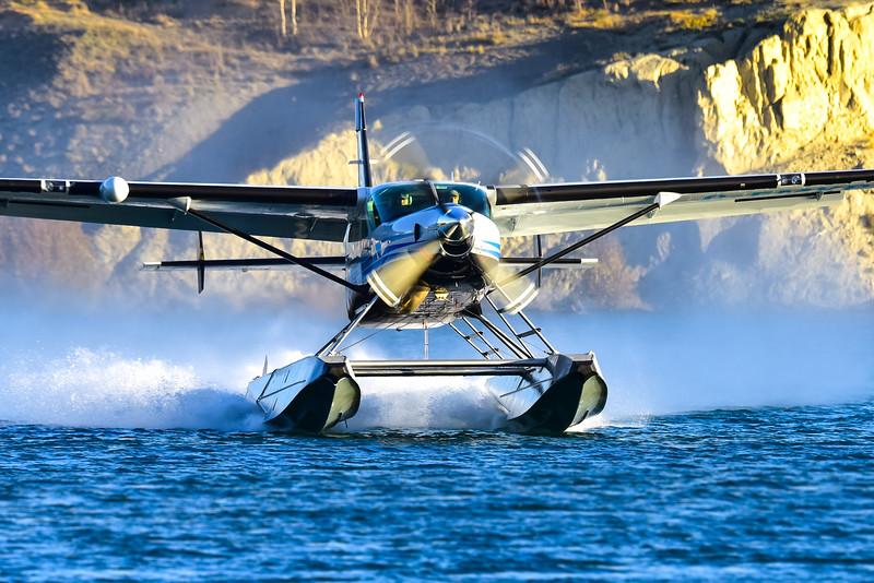 A Black Sheep Aviation Cessna 208 Supervan 900 with a Texas Turbines engine upgrade departs Schwatka Lake, Yukon. Simon Blakesley Photo