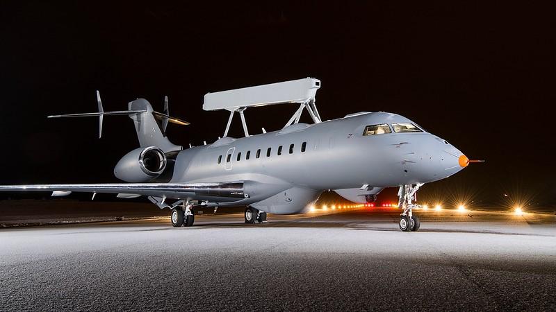 Saab Photo<br />  GlobalEye on runway 1