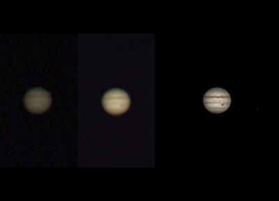 Ukázka toho, jak důležité jsou v planetární astrofotografii postupy a zpracování získaných dat - vlevo jeden dílčí snímek nasnímaného videa, uprostřed poskládaných zhruba 2700 snímků do jednoho programem AutoStakkert, a vpravo výsledný snímek zpracovaný programem Registax. Podotýkám, že tam nejsou žádné retuše ani jiné podvody, všechno, co je na výsledném snímku vidět, v těch datech skutečně bylo, jen to z nich je třeba ohromně sofistikovanými algoritmy a nástroji dostat. Jupiter a Europa cca. 1:20 SELČ, Olomouc, SkyWatcher 130/650, PS3 Eye, barlow 3x, stack zhruba 2700 snímků. Současně také test jiné webkamery než obvykle, schopné snímat v 60 fps.