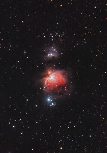 Mlhovina M42 v Orionu, únor 2015, Olomouc. 27x60s, 16x70s, dark, flat, bias, ISO 800, Canon 350D full spectrum, Canon EF-S 55-250 IS @ 250mm f/7.1, EQ2.