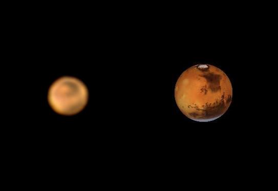Mars 13.4.2014 cca. 3:40 SELČ, SkyWatcher 130/650, barlow 2x, MS Lifecam HD 5000, složenina cca. 1000 snímků. Vpravo simulace z calsky.com.