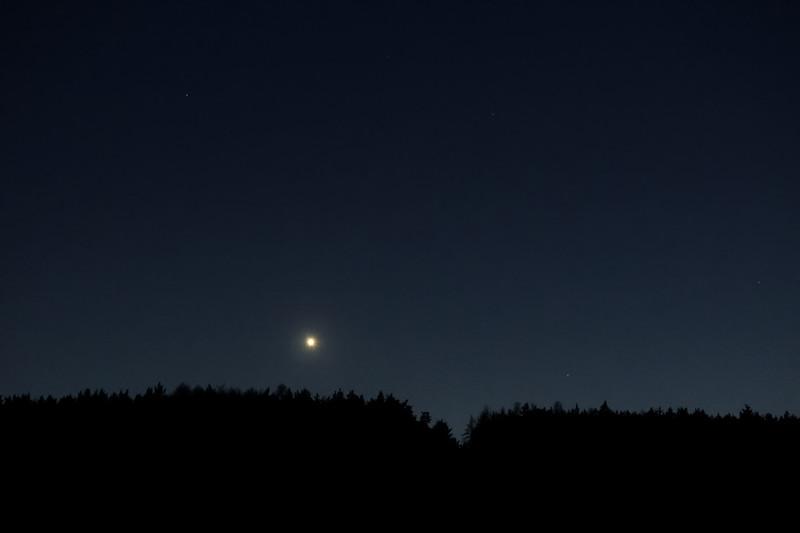 Venuše zapadající nad lesem. 20:49 SELČ.