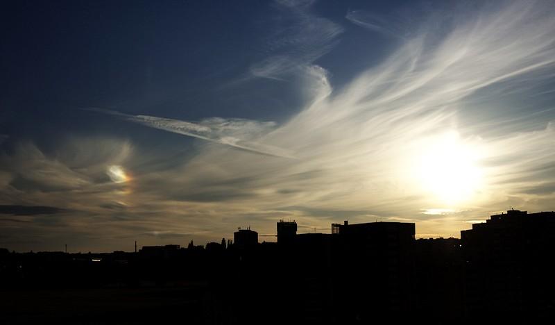 Parhelium při západu slunce 15.6.2012