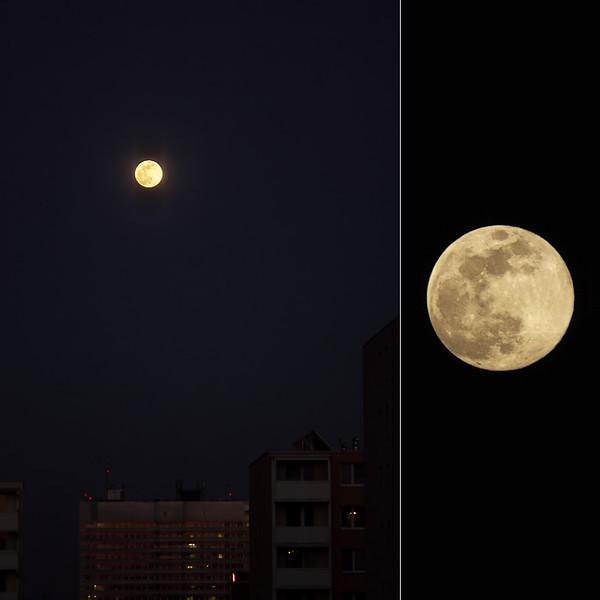 Vycházející Měsíc nad brněnskou bohunickou nemocnicí o rovnodennosti 20. 3. 2019.