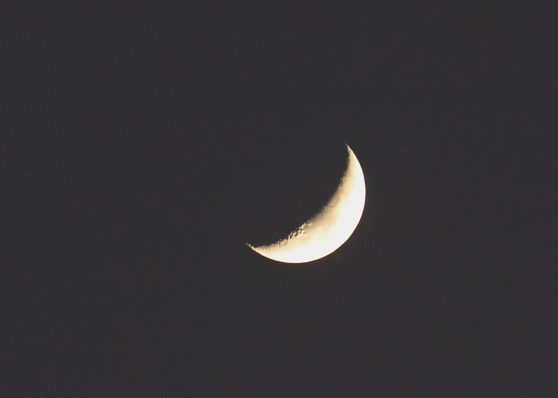 Craters on the Crescent Moon at Night