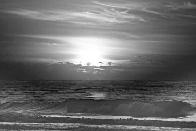 Sunlight at Sunrise in Black and White