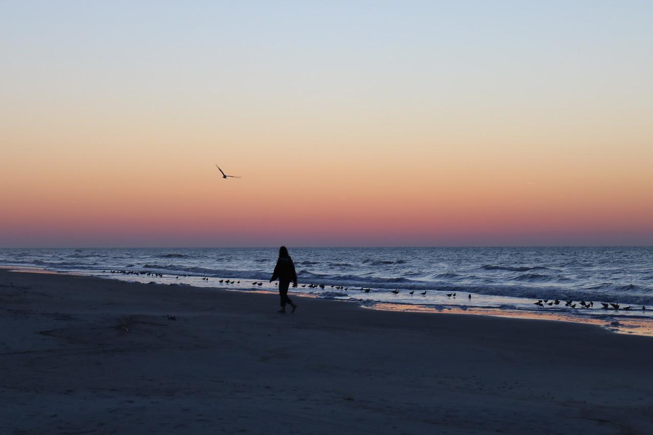 Walking on the Beach at Dawn