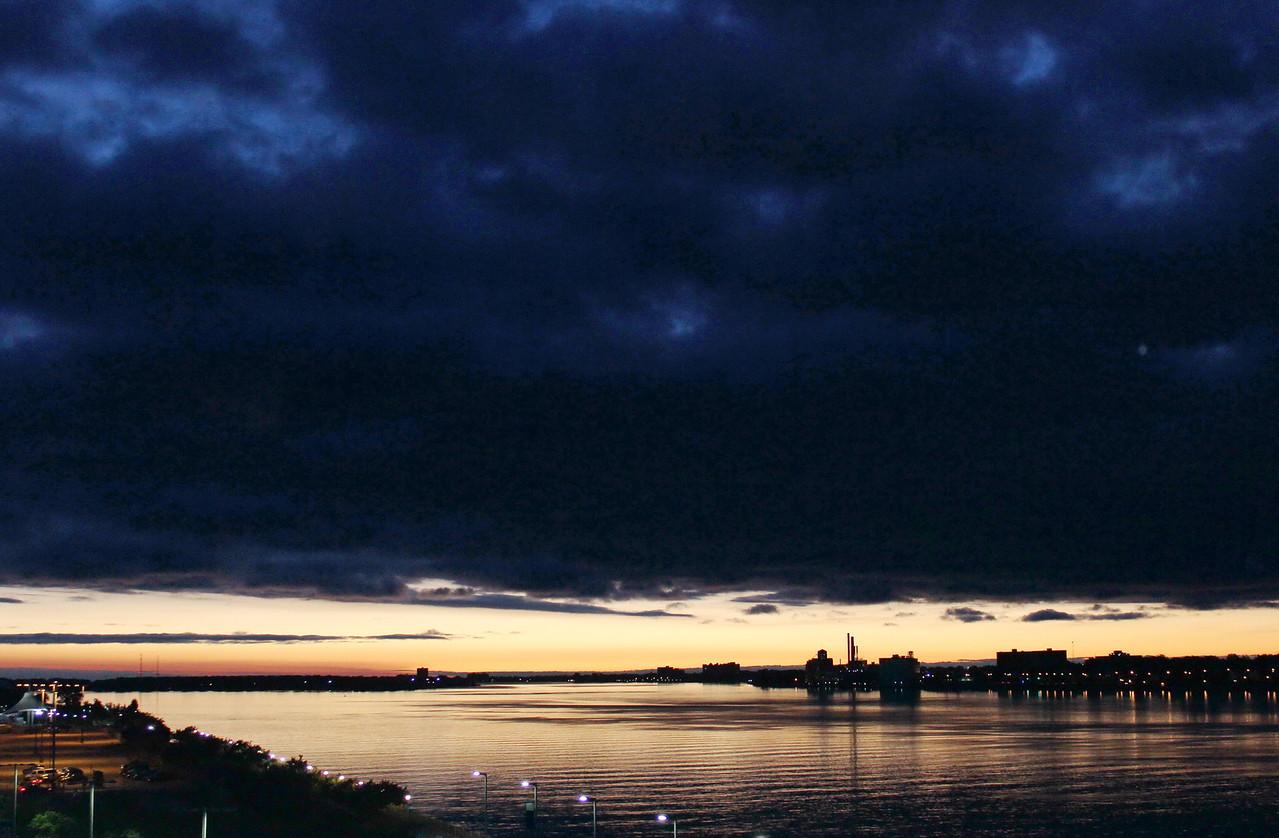 Sunset over the Detroit River