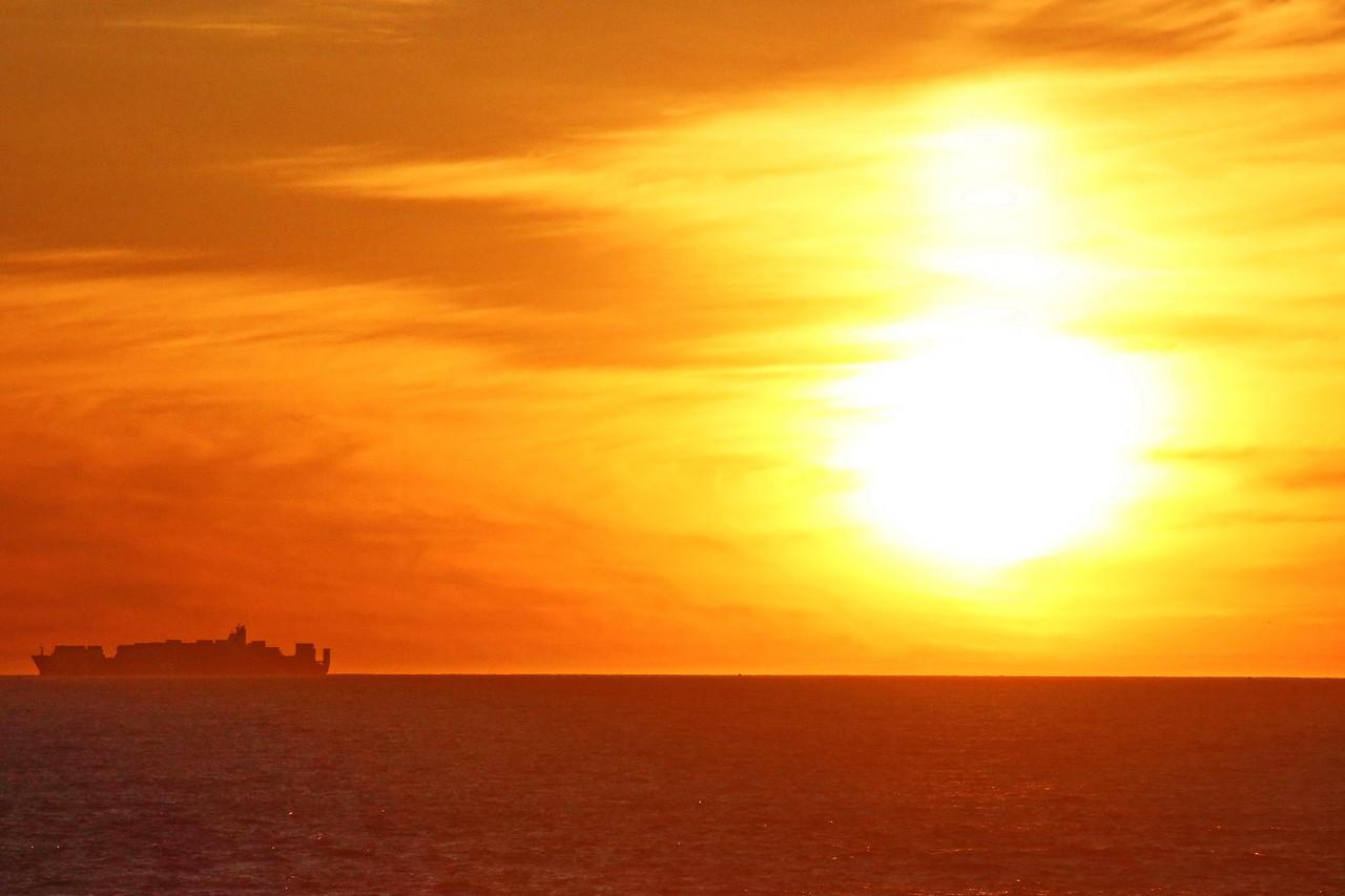 Cargo Ship at Sundown