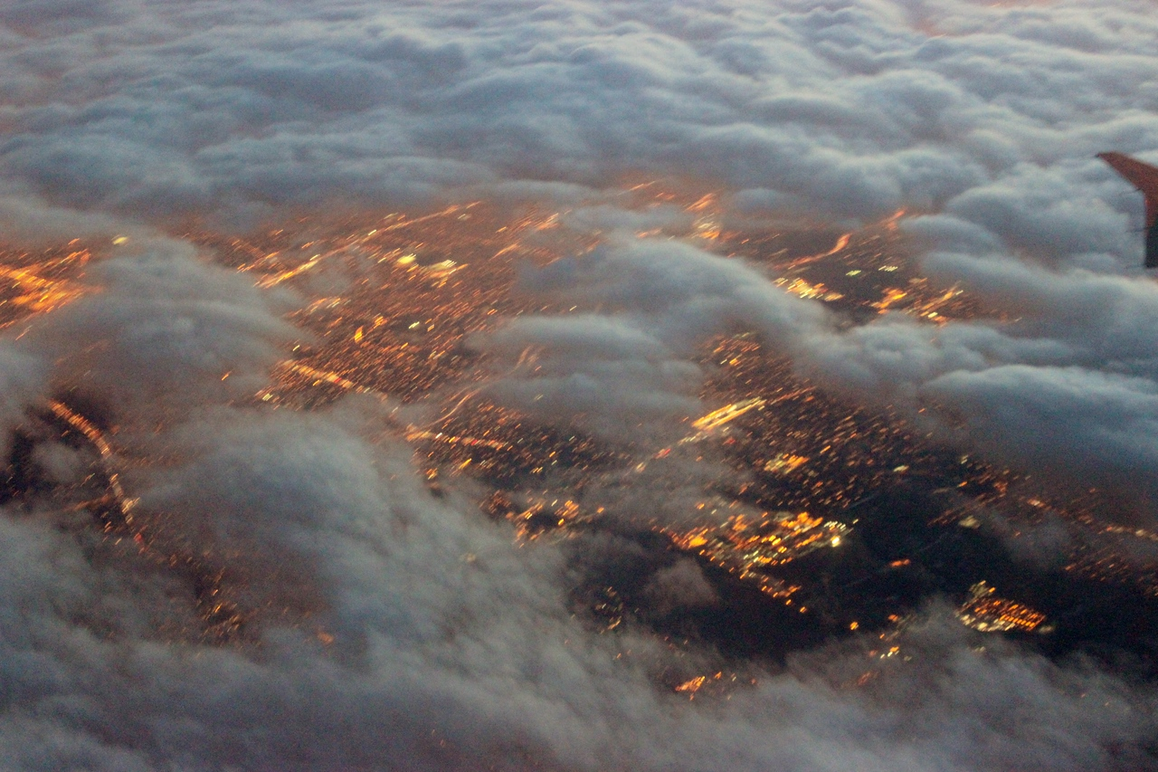 Night Lights through the Clouds