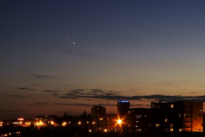 Soumrak 29.6.2015 - Jupiter a Venuše jsou od sebe zhruba 1 stupeň.