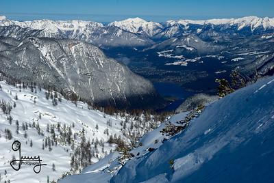 1101 - Krippenstein Ski Area with Lake Hallstat in the distance.  Dachstein Mountains, Austria.
