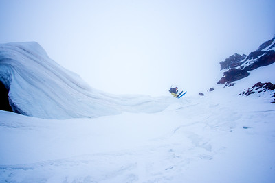 Dropping into the Sunrise Couloir