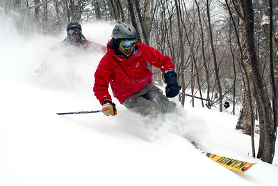 Evan Waldman & Noah Labow Having fun, Skiing Woods 2006