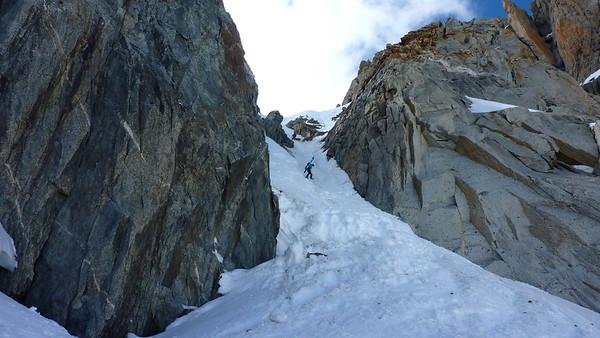 Julie descends the splendid Col du Chardonnet 3321m