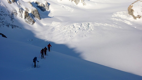 Morning traverse up the Glacier de Saleina 2670m