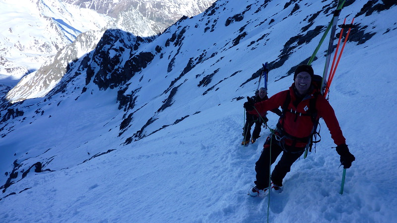 Approaching the col below the Grand Combin, alert for the gusts of wind!